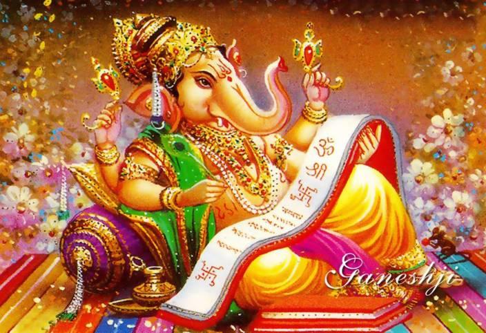 Gods Ganesh Ji On Fine Art Paper Hd Quality Wallpaper Poster Fine