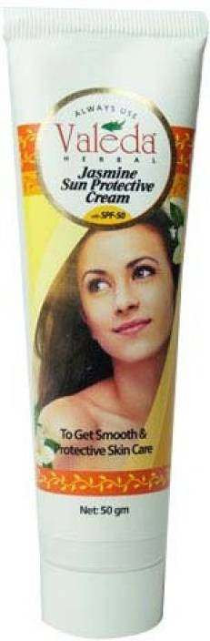 Valeda Herbal Jasmine Sun Protective Cream with Calendula - Clinically Proven Anti-Tan Formula for Normal Skin - SPF 50 PA+++