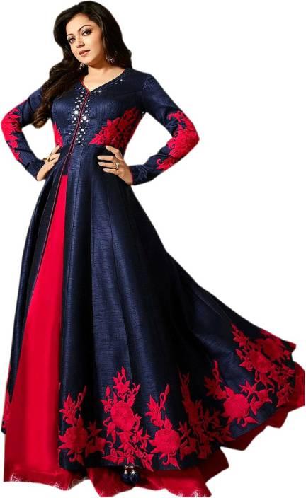 Bipolar Life Silk Embroidered, Self Design Semi-stitched Salwar Suit Dupatta Material
