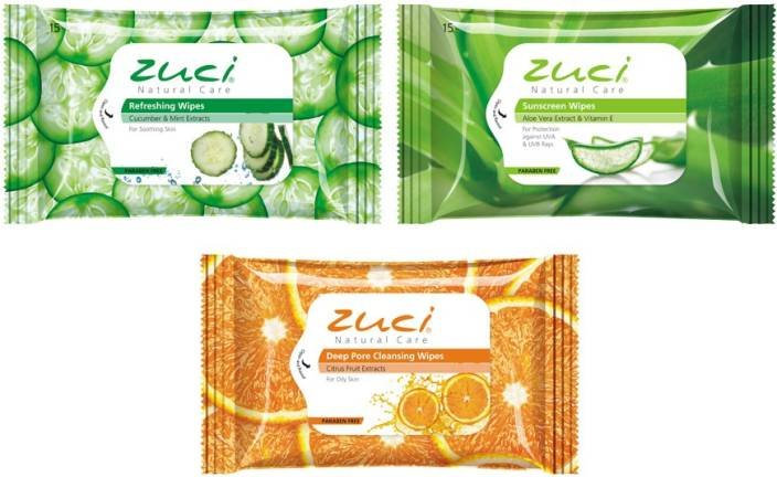Zuci Pack Of 3 Assorted Wet Wipes (Aloeveera, Citrus, Cucumber)