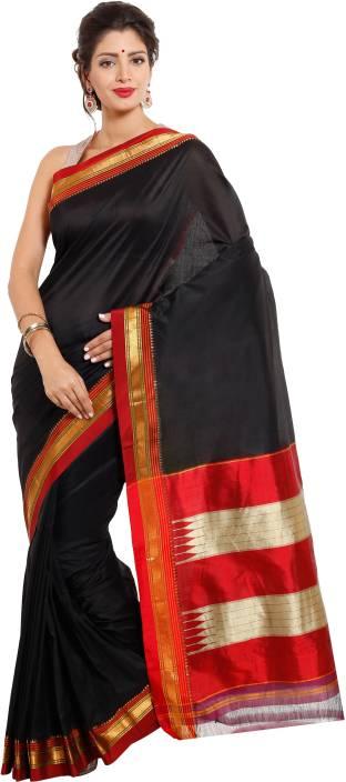 6824288302526c Buy Dhammanagi Solid Ilkal Pure Silk Black Sarees Online @ Best ...