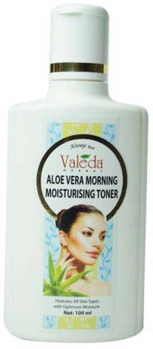 Valeda Herbal Aloe Vera Morning Moisturising Toner - with 'Witch Hazel' and 'Basil' - Unique 'Watery Extract' to Hydrate, Tone and Stimulate