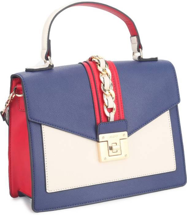 6a0438eadbb4 Buy ALDO Hand-held Bag Navy  Off White   Red Combo w  Lt Gold hw ...