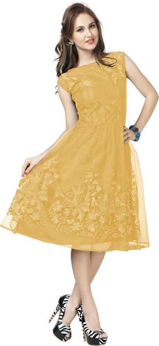 Elevate Women Women Fit and Flare Beige Dress