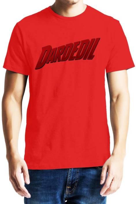 Baklol Graphic Print Men's Round Neck Red T-Shirt