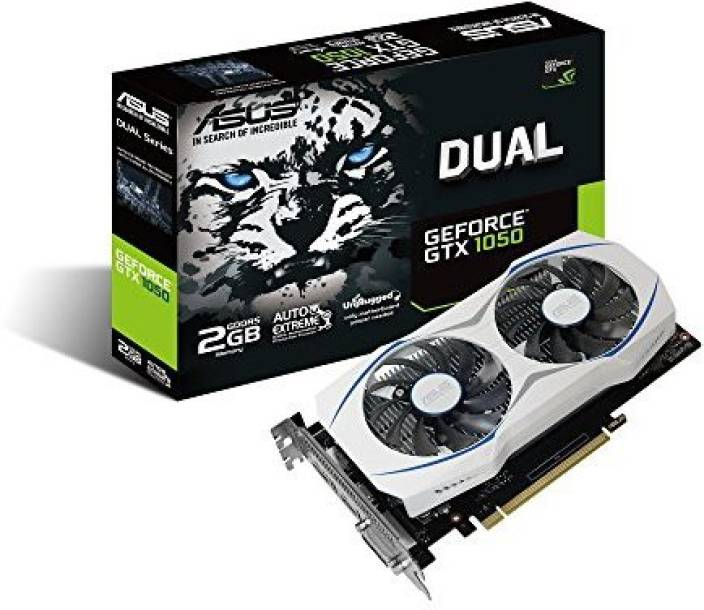 Asus NVIDIA ASUS Geforce GTX 1050 O2GB Dual-Fan Edition DVI-D HDMI DP 1.4 Gaming Graphics Card (DUAL-GTX1050-O2G) Graphic Cards 2 GB GDDR5 Graphics Card