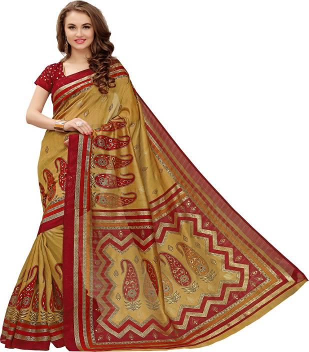 1b716c04b58cfd Glory Sarees Printed, Paisley Kalamkari Art Silk, Cotton, Silk Saree  (Multicolor)