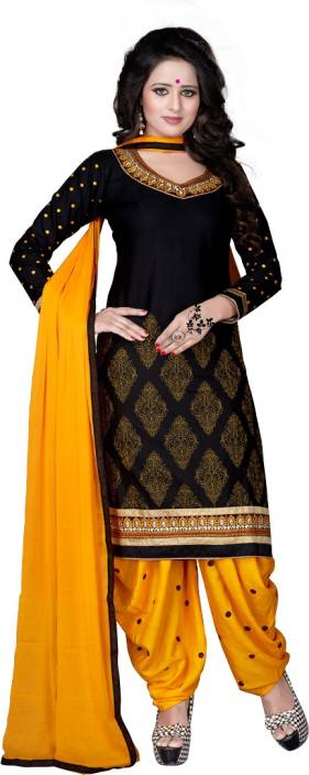 Zypara Cotton Embroidered Semi-stitched Salwar Suit Dupatta Material