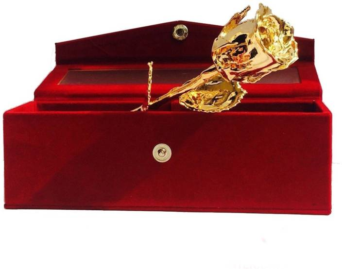 INTERNATIONAL GIFT INTERNATIONAL GIFT Valentine Gift 24K Gold Dipped Natural Rose 15 Cm With BeautiFul Red Velvet Box - Best Gift For Loves Ones, Valentine Day, Mother's Day, Anniversary Gift, Birthday Gift And Wedding Gift Showpiece Gift Set