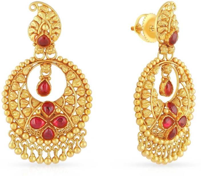 Malabar Gold And Diamonds Yellow Gold 22kt Chandbali Earring Price