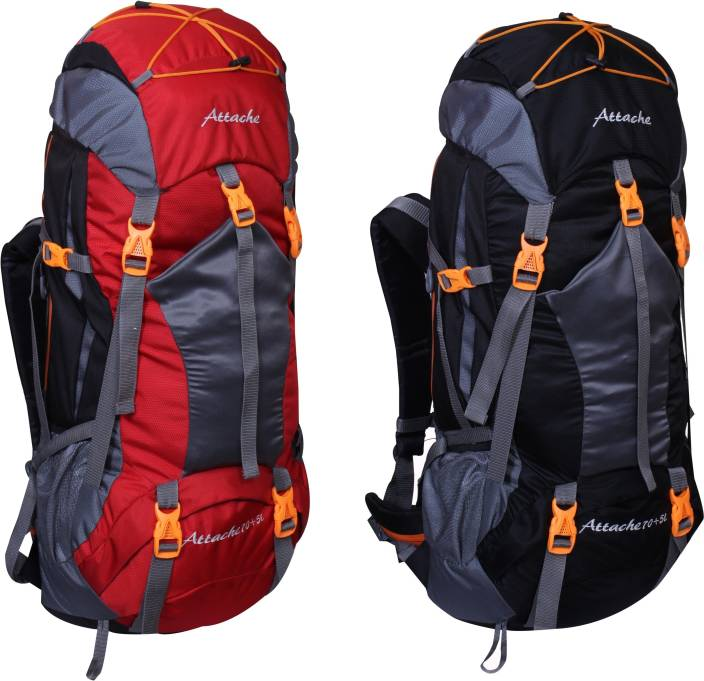 Attache 1025R Hiking Backpack (Red & Black) Set of 2 With Rain Cover … Rucksack  - 70 L