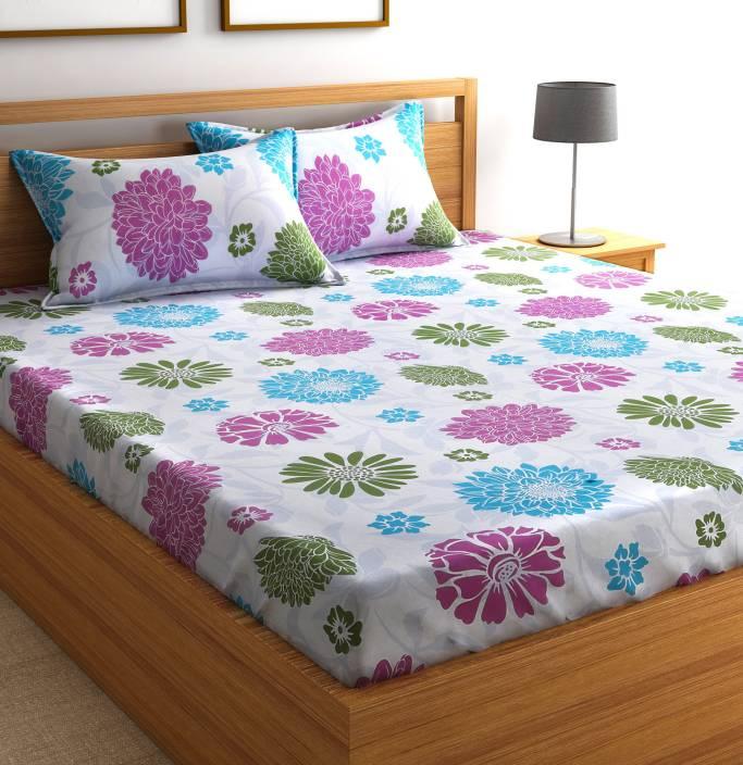 Bed Stores Online: Flipkart SmartBuy 104 TC Cotton Double Floral Bedsheet