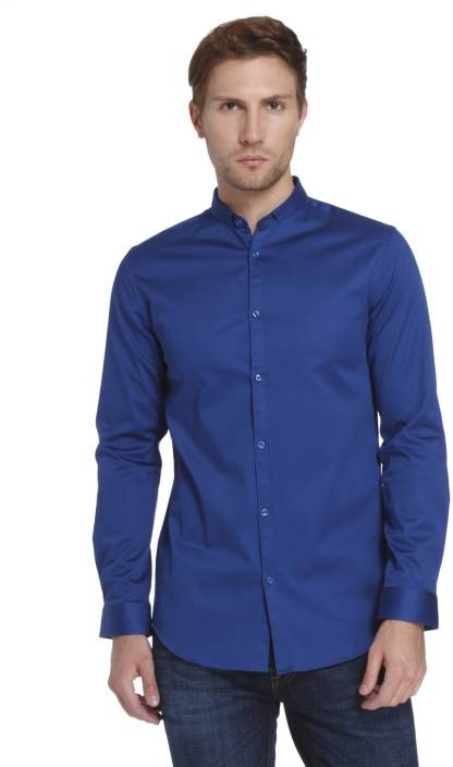 Jack & Jones Men's Solid Casual Blue Shirt