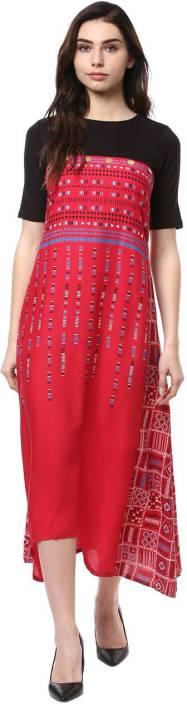 Akkriti by Pantaloons Women's A-line Red, Black Dress