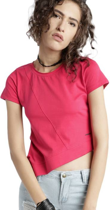 0b0424d3b8 Roadster Solid Women's Round Neck Pink T-Shirt - Buy Roadster Solid ...