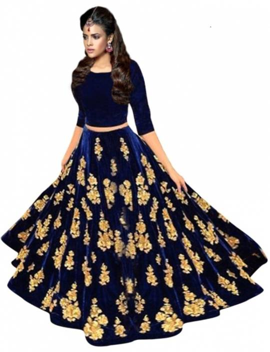 02a5940cb77812 Fashion Basket Embroidered Semi Stitched Lehenga   Crop Top - Buy ...