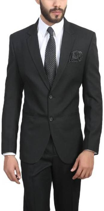 ManQ Solid Single Breasted Wedding, Formal Mens Blazer  (Black)