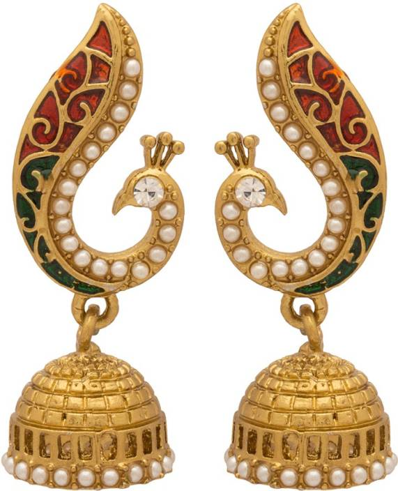 Voylla Artificial Peacock Textured Crystal Alloy Jhumki Earring
