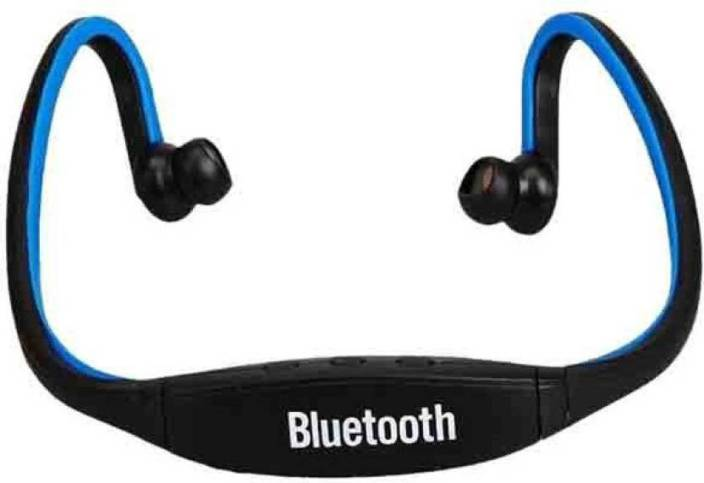 CheckSums 11824 S9 Ear Wireless Bluetooth Neck Band Headset with Mic &  Memory Card Reader Bluetooth Headphone