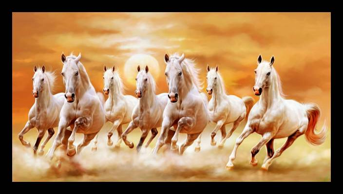 Vastu Seven Running Horses Canvas Art Art Paintings Posters In