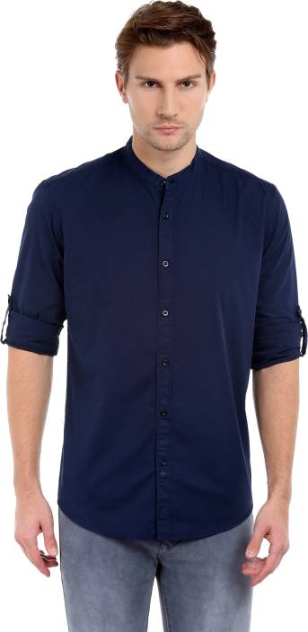 Dennis Lingo Mens Solid Casual Dark Blue Shirt
