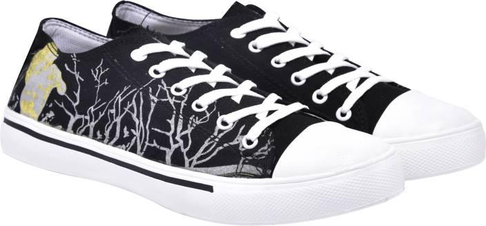 5d481b09da280 Walk Jump black printed canvas shoes,casuals,printed Sneakers For Men