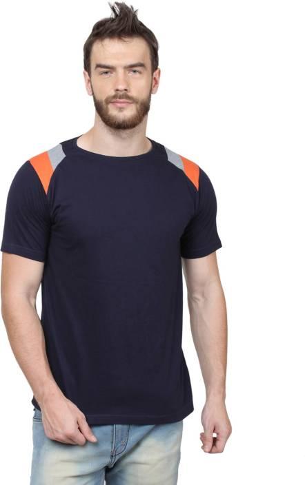 SayItLoud Solid Men's Round Neck Blue, Orange, Grey T-Shirt