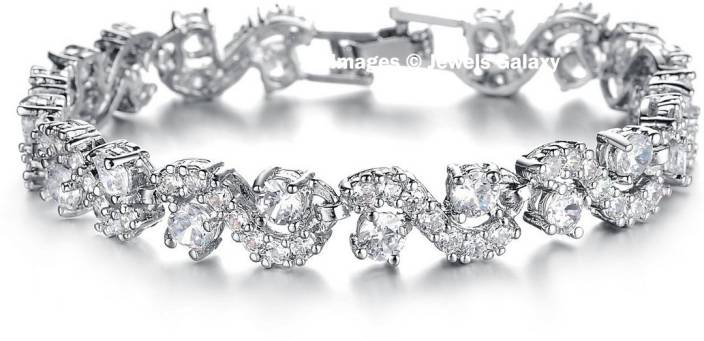 Jewels Galaxy Alloy Swarovski Crystal Platinum Charm Bracelet