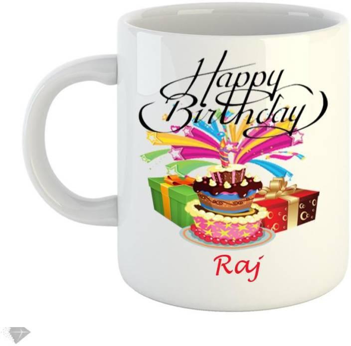 Reindeer Happy Birthday Raj 350ml White Ceramic Mug Ceramic Mug