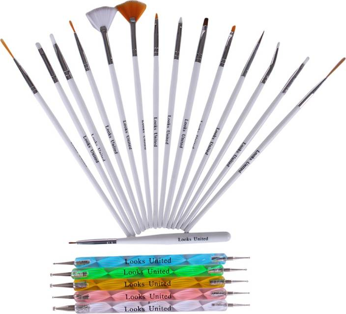 Looks United Combo of 15 Pcs Nail Art Brush Set and 5 Pcs Nail ...