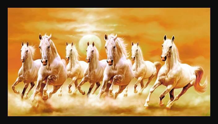Dkh Vastu Series Running Horse Art Print Digital Reprint 14 Inch X