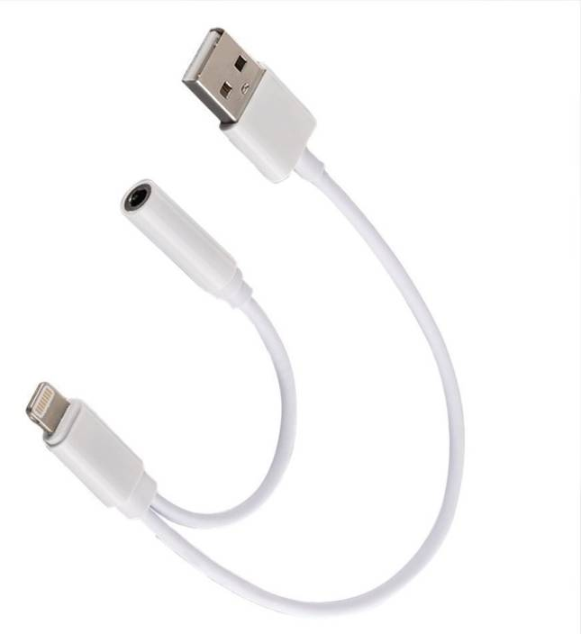 84370eafa1432b BB4 Lightning To 3.5mm Headphone/Earphone Audio Jack Adapter & Usb Charging  For Iphone 7,7 Plus Aux Cable USB Adapter (White)