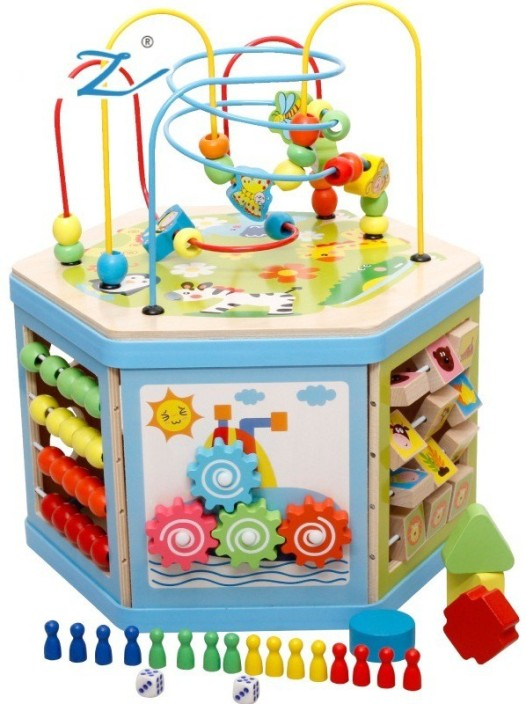 Emob Childrenu0027s Large Wooden Hexagon Multifunctional Beads Around The  Building Blocks Puzzle Treasure Box Learning Toy