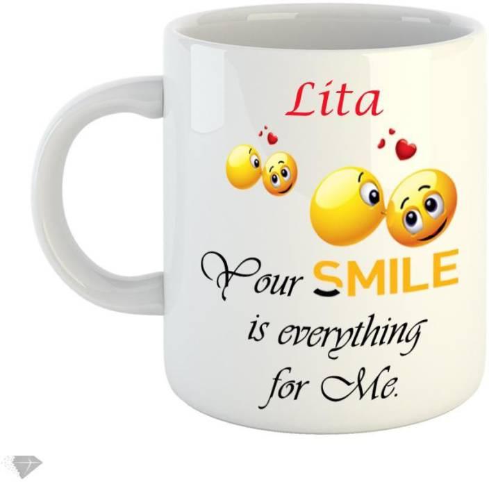 Reindeer Your smile is everything for me Lita 350ml white ceramic mug Ceramic Mug