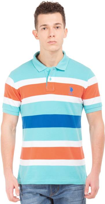 312440df0 U.S. Polo Assn Striped Men s Polo Neck Multicolor T-Shirt - Buy U.S. ...