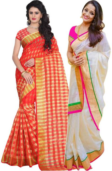 BAPS Solid Bollywood Cotton, Silk Saree  (Pack of 2, Multicolor)