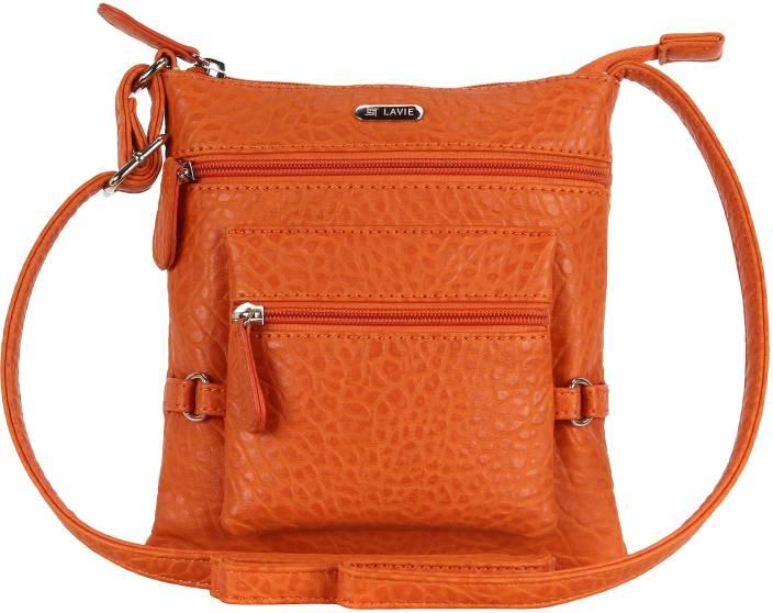 Lavie Women Orange Polyester Sling Bag