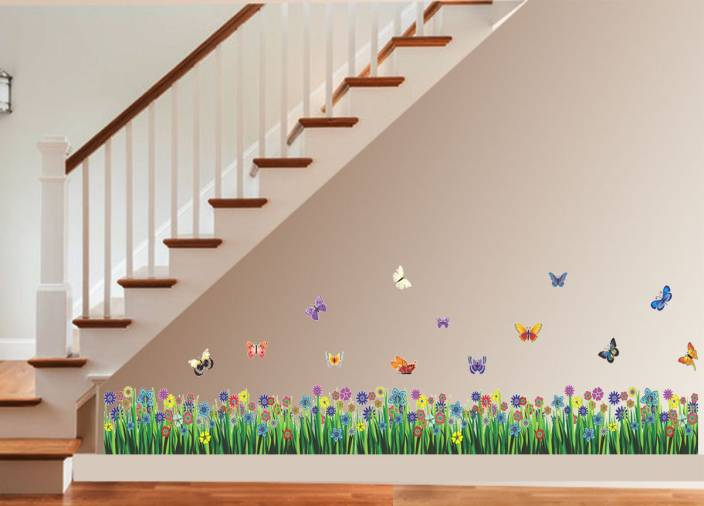 New way decals wall sticker floral botanical wallpaper for Wooden ceiling cost india