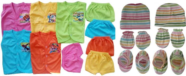 29173b5a9 Sonpra New Born Baby Soft Cotton Jablas Shorts Caps Mittens Booties Combo  Set ( 0 -3 Months)