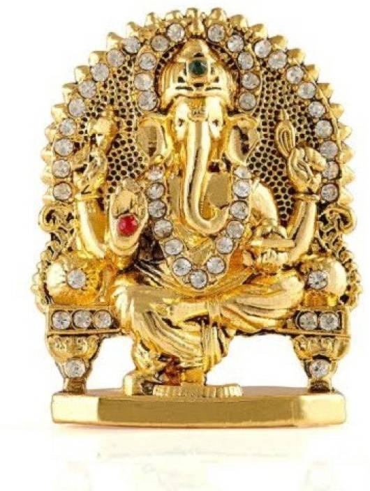 Kulin Ganesh Ganpati Lord Ganesha Idol Statue For Car Dashboard Home Decor Gifting Decorative Showpiece 5 Cm Alloy Gold