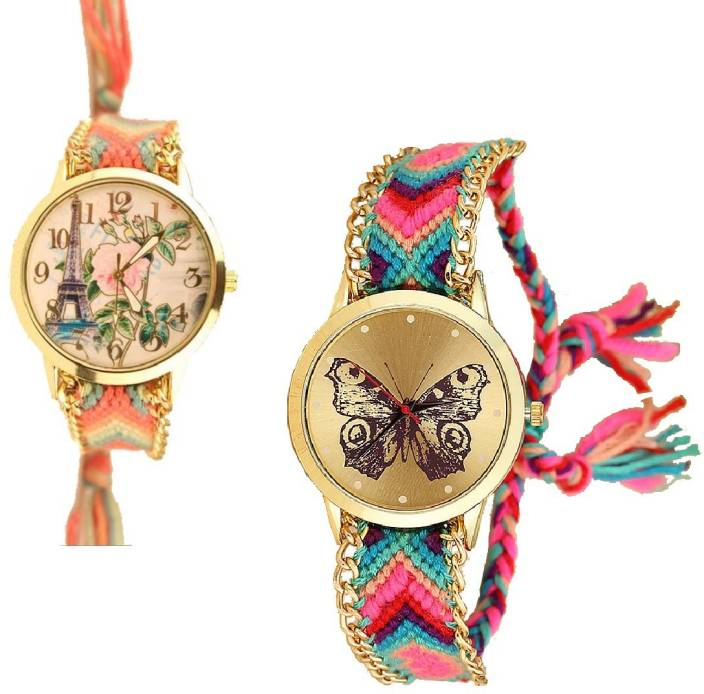 SPINOZA fabric multicolor belt Eiffel tower pack of 2 Watch - For ...