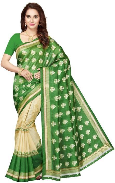 8c1e91ba0d Buy Ishin Printed Bollywood Silk Green, Beige Sarees Online @ Best ...