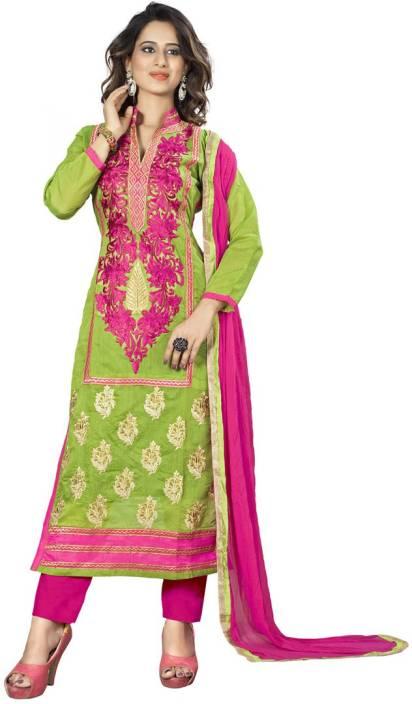 Saara Cotton Silk Blend Floral Print, Embroidered Semi-stitched Salwar Suit Dupatta Material