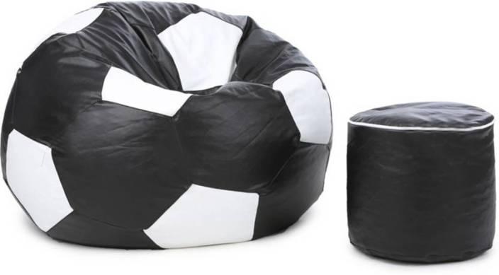 Fine Mofaro Xxxl Classy Football Bean Bag With Stylish Foot Stool Bean Bag With Bean Filling Machost Co Dining Chair Design Ideas Machostcouk