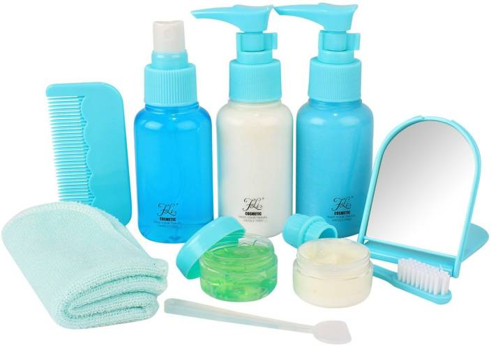 de7afea50751 HOKIPO Clear Plastic Refillable Spray Bottles Set with Zippered Pouch, 10  Pieces - [Airline Carry-On Approved] - Travel Toiletry Kit