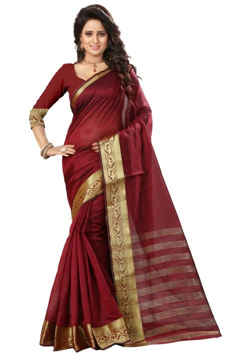 The Fashion Outlets Self Design, Solid Coimbatore Silk Cotton Blend, Jacquard Saree
