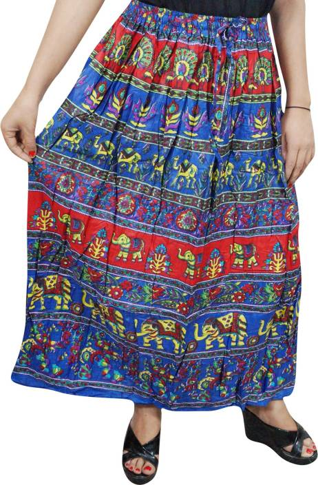Indiatrendzs Printed Women's A-line Blue, Red Skirt