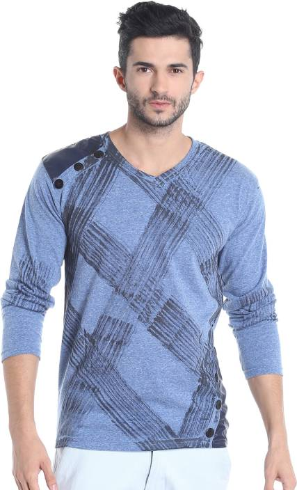 Campus sutra printed men v neck blue t shirt buy blue for Printed t shirts india