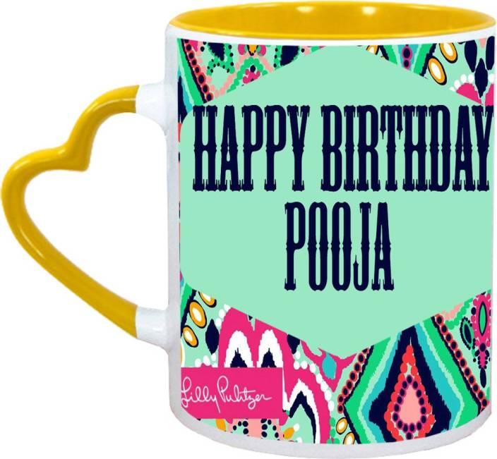 Muggies Magic Pooja Name Happy Birthday Gift Ceramic Mug