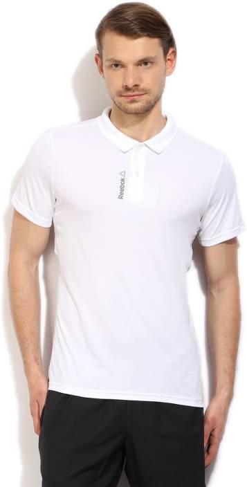 008c7e59 REEBOK Solid Men's Polo Neck White T-Shirt - Buy White REEBOK Solid Men's  Polo Neck White T-Shirt Online at Best Prices in India   Flipkart.com